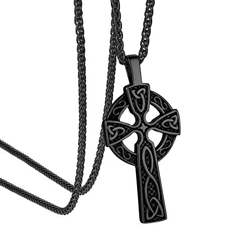 "GOLDCHIC JEWELRY Black Celtic Cross Necklace for Men Stainless Steel Triquetra Viking Triple Horn of Odin Cross Necklaces Black Rhodium Plated 22""+2"" Wheat Chain -with Gift Box"