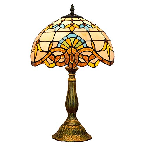 Hobaca 12 pulgadas Barroco Lujo Tiffany Lámpara de mesa Lámpara de vitral Arte deco Antiguo Cabecera Lámpara de escritorio para Sala Habitación Mesa de café