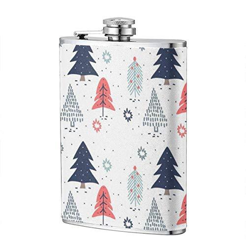 XBYC Vektor Hand gezeichnete Weihnachtsbäume Musterflasche für Alkohol und Trichter Edelstahlflasche zum Trinken von Alkohol, Whisky, Rum und Wodka 8oz