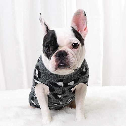 Hundepullover, gestrickter Pullover mit Leopardenmuster, warmer Pullover für Welpen, Grau, Größe XL