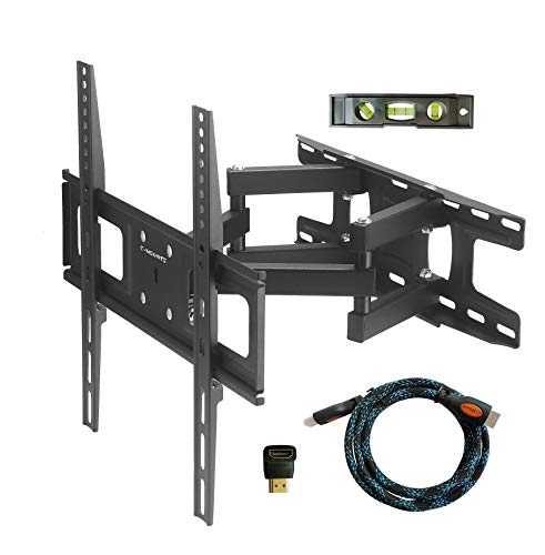 "C-MOUNTS TV Wall Mount Bracket with Articulating Dual Arm Swivel and Tilt fit 26 to 55 Inch Flat Screen TVs,VESA 400X400 and 110lbs,Fits up to 16"" Studs, Includes HDMI"