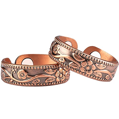 Vicmag 2PCS Copper Magnet Ring for Women Men Magnetic Therapy for Arthritis Pain Relief Carpal Tunnel Joint Ladies Fingers Thumb Adjustable - 100% Solid Pure Copper Jewelry Gift (A Flower)