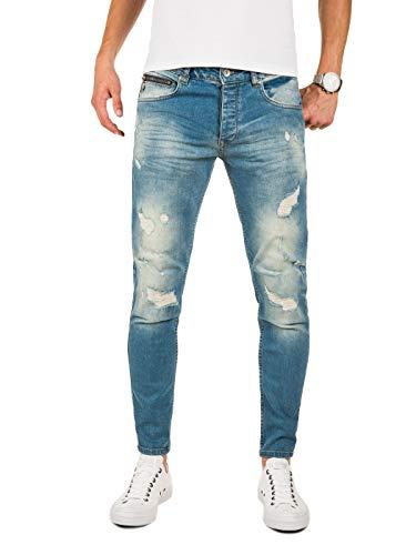 PITTMAN Zerissene Jeans Herren Slim Fit M421 - Biker Jeanshosen für Maenner - Zerrissen Hose Sommer Stretch Chino, Blau (Blue Denim X5), W34/L32