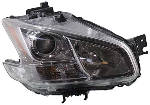 Evan-Fischer Headlight Assembly Compatible with 2009-2014 Nissan Maxima HID with HID Kit Clear Lens with Sport or Premium Package Passenger Side