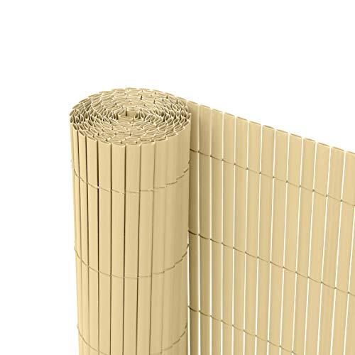 Ribelli® PVC Sichtschutzmatte Sichtschutzzaun Sichtschutz Zaun Balkon Windschutz (140 x 300 cm, Bambus)