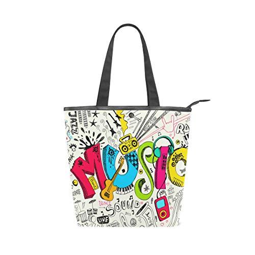 Jeansame Canvas-Tasche Einkaufstasche mit Tragegriff, Schultertasche, Hippie Gitarre Sound