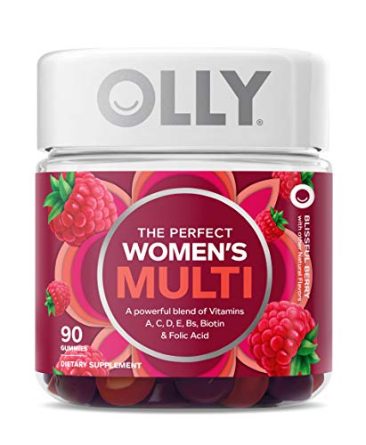 OLLY The Perfect Womens Gummy Multivitamin, 45 Day Supply (90 Gummies), Blissful Berry, Vitamins A, D, C, E, Biotin, Folic Acid, Chewable Supplement (Packaging May Vary)