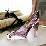 YIBING Scarpe di Cristallo Decorazioni per la casa in Vetro Cenerentola Scarpe col Tacco Scarpe da Sposa Figurine Miniature Ornamento, Viola