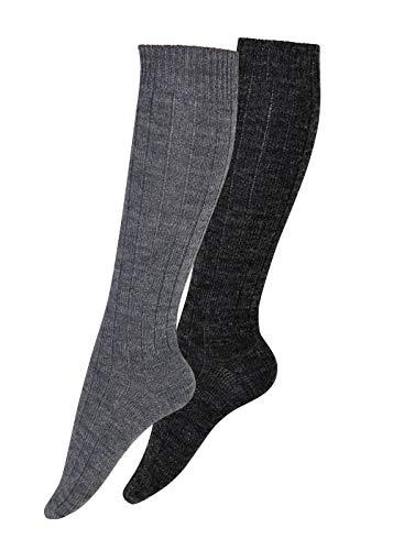 kb-Socken Kniestrümpfe Wolle mit Alpaka Wollstrümpfe Knielang aus Wolle mit Alpaka, 2 Paar,Gr 39-42