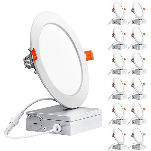 Freelicht 12 Pack 6 Inch Ultra-Thin LED Recessed Ceiling Light with Junction Box, 12W Eqv 110W, 3000K Warm White Dimmable Can-Killer Downlight, 850LM High Brightness - ETL and Energy Star