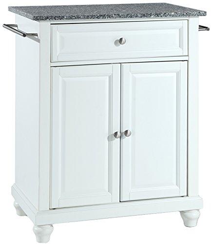 Crosley Furniture Cambridge Cuisine Kitchen Island with Solid Grey Granite Top - White