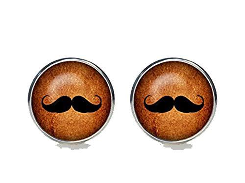 Bloody devil Gemelos de bigote chapados en plata para hombre, accesorios hipster...