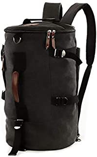 Men Big fashion Cylindrical backpack Canvas Leisure bag Travel Bag School bag My15 black