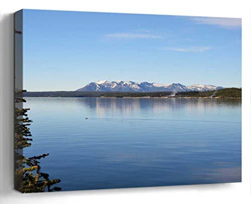 Wall Art Canvas Print Photo Artwork Home Decor (24x16 inches)- Lake View Water Shoreline Nature Scenery TRE