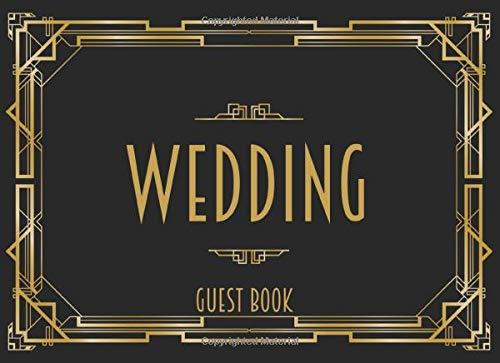 Wedding Guest Book: Black & Gold Art Deco Theme
