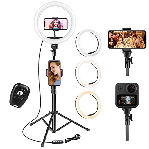 UPhitnis 10 Zoll Selfie Ringlicht mit 63 Zoll Stativ Ringleuchte mit 3 Farbe und 10 Helligkeitsstufen für Make-up,Live-Streaming,YouTube, Tiktok, Vlog und...