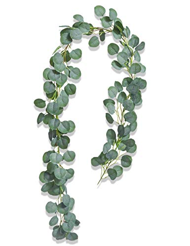 Artificial Plant, Boic 6.5ft Artificial Eucalyptus Garland Leaves Greenery Faux Wreath Hanging Vine Fake Plant Indoor Outdoor for Wedding Party Table Garden Backdrop Arch Wall Decor (1 Strand)