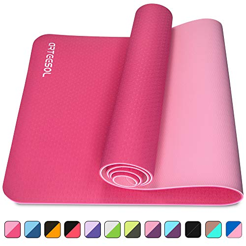 arteesol Yoga Mat, Non-Slip 6mm Thick Large Fitness Mat, Anti-Tear Eco Friendly Exercise Mat with Carry Straps, Premium for Pilates, Fitness, Women and Men 183 cm x 61 cm x 6 mm (Rose red)