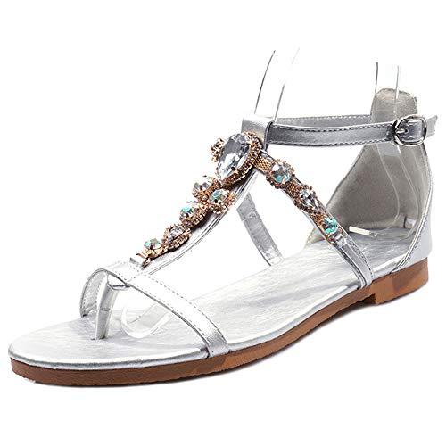 Mediffen Clip Toe Mujer con Tachuelas T Strap Comodo Bohemia Plano Sandalias Mujer Verano Sandalias Comodo Casual Sandalias Plateado Talla 48 Asiática (Ropa)