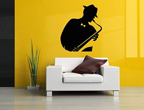 Vinyl Sticker Saxophone Musical Instrument Musician Abstract Poster Music Tuba Jazz Player Silhouette Mural Decal Wall Art Decor SA2728