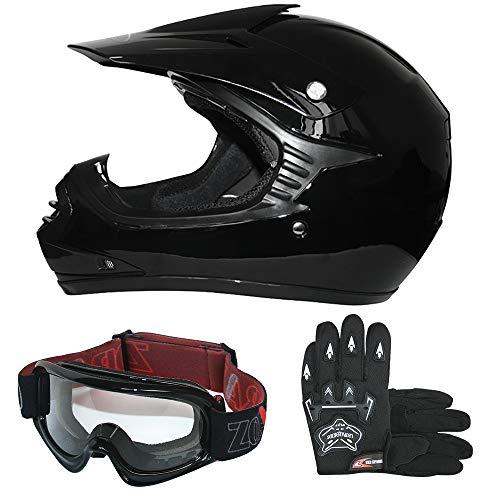 Leopard LEO-X15 Kinder Motocross MX Helm { Motorradhelm + Handschuhe + Zorax Brille} Schwarz L (53-54cm) ECE Genehmigt Crosshelm Kinderquad Off Road Enduro Sport
