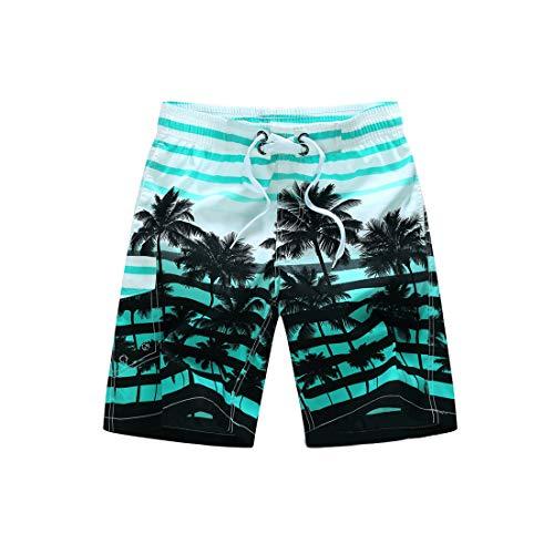 Inlefen Männer Sommer Strand Kurze Hose Bunte Gestreifte Gedruckt Badehose Schnell Trocknend Lässige Badehose mit Taschen