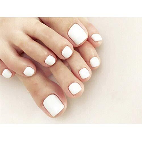 Yienate Falscher Nagel für Zehen Chic Exquisite Braut Weiß Fake Nagel für Zehen Vollständige Abdeckung Nagelspitzen Fußnägel 24St