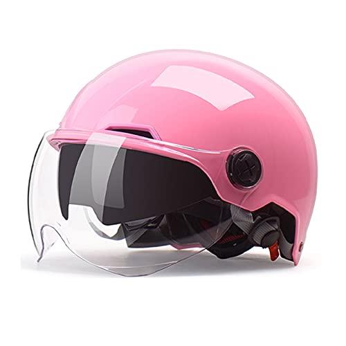 BOSERMEM Cascos De Motocicleta para Hombres y Mujeres, Cascos De Ciclomotor con Viseras, El Cabezal Anticolisión Protege La Seguridad Vial De Los Usuarios(Rosa)
