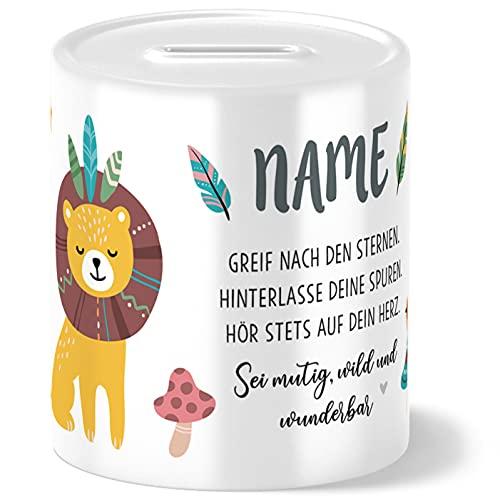 Boho Löwe Kinder Spardose Personalisiert mit Namen Geschenke Geschenkideen für Mädchen zum Geburtstag Einschulung Taufe Geburt Sparschwein
