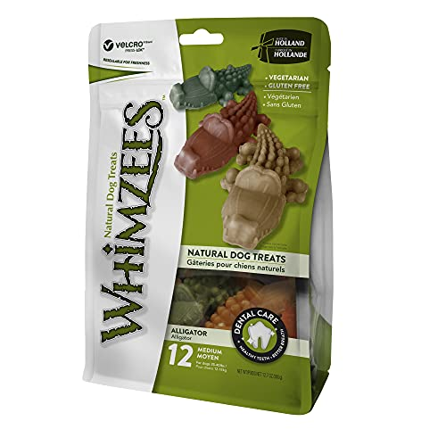 Whimzees Alligator Dog Chews (Resealable Pack) (Size: Medium - 12 Pack)