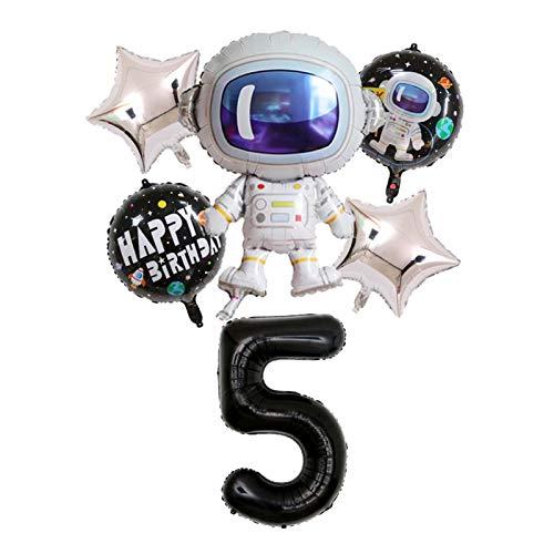 QIANGQSM 37inch balloon Rocket Foil Balloons Theme Party Boy Kids Birthday Party Decor Helium Globos balloon (Color : 6pcs 5)