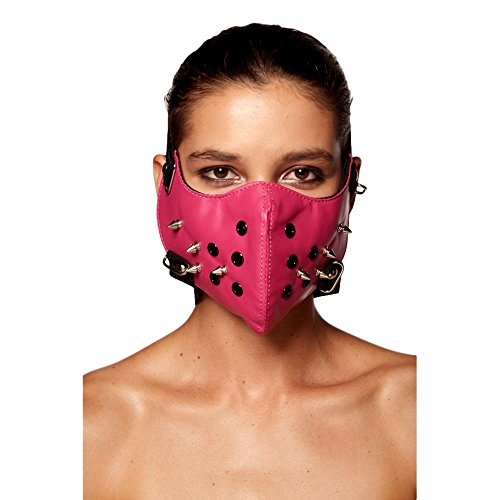 Steampunk Lower Face Mask with Studs (Pink)