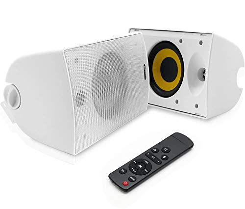 Dual Bluetooth Wall Mount Speakers - 6.5 Inch 300 Watt Pair of 2-Way Audio Waterproof Weatherproof Indoor Outdoor WiFi Enabled Speaker System - in a Heavy Duty Grill Cabinet - Pyle PODWIFIB64 (White)