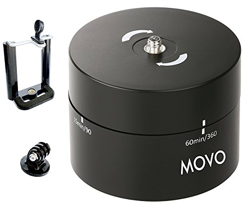 Movo MTP1000 360-Degree / 60-Minute Panoramic Time Lapse Tripod Head for DSLR's, GoPro's, and Smartphones, Black