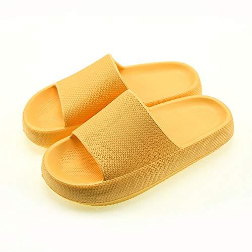 HUSHUI Bañarse Sandalias Zapatillas para Mujer,Pantuflas Antideslizantes de Suela Blanda, Pantuflas de baño elevadas-Yellow_35-36,Zapatos de Playa y Piscina para