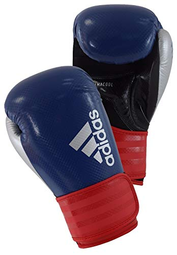 adidas Herren Hybrid 75 Boxhandschuhe, blau/Rot/Silber, 12 oz