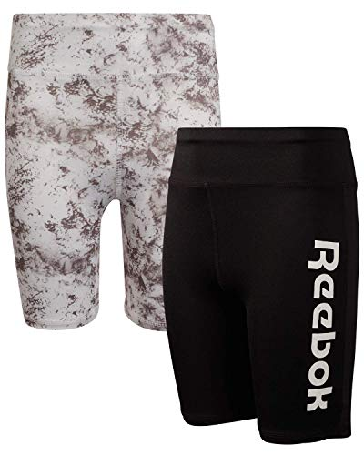 Reebok Girls Athletic Bike Shorts - Long Length Workout Running Shorts (2 Pack), Size Small, Black/Dark Heather Grey, Size Medium (8/10), Marble/Black