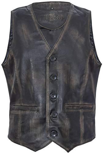 Infinity Leather Männer Ziege Wildleder Klassisch Smart Schwarze Leder WesteXL