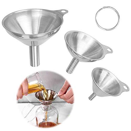 MJTCHE19 Edelstahl Trichter 3 Stück Küche Trichter Kleiner Trichter Mini Trichter Metall Trichter Strainer Filter für Separate Flüssigkeiten Speiseöl Gewürze Oder Pulverförmige Gegenstände