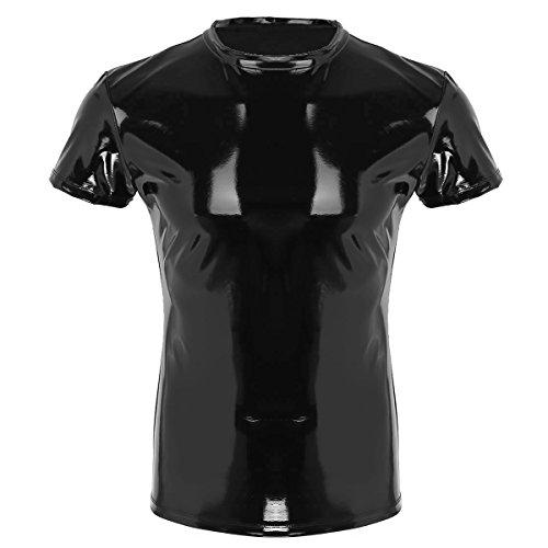 ranrann Herren Wetlook Shirt Hemd Kunstleder Tank Top Kurzarm Muskelshirt Latex Unterhemd Slim Fit Fitness Clubwear M L XL XXL Schwarz XX-Large