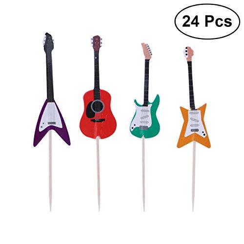 Tinksky 24pcs Guitar Cupcake Toppers Musical Instrumento Shape Cupcake decoración Herramientas para los Suministros de Fiesta