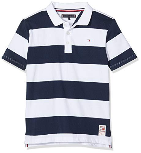 Tommy Hilfiger Jungen Wide Stripe Polo S/s Poloshirt, Blau (Blue 0A4), One size (Herstellergröße: 80)
