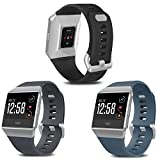 SKYLET Compatible with Fitbit Ionic Bands for Men Women, 3 Pack Soft Sport Replacement Wristbands Compatible with Fitbit Ionic Smart Watch with Buckle(Black, Slate, Gray Large)