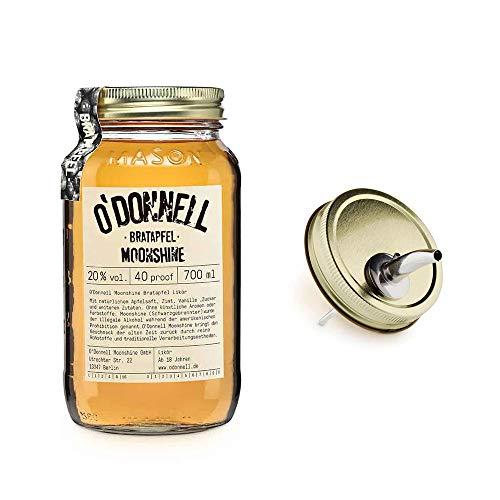 O´Donnell Moonshine Bratapfel + Ausgießer 0,7l Bratapfellikör Apfellikör Geschenkpaket Geschenkset