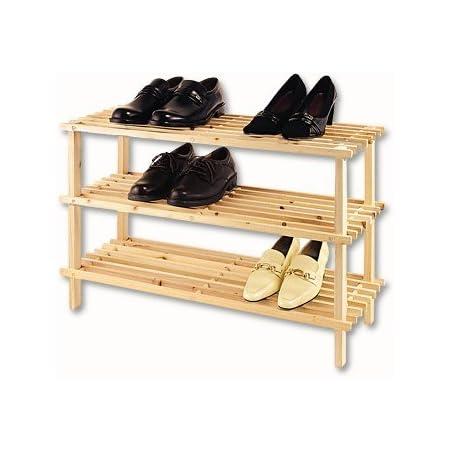 H*L*W Schuhregal Holz mit 3 Ebenen Delgeo Schuhregal aus Bambus Naturfarben Schuhst/änder 70 x 46 x 25 cm Schuhregal 3 Ebenen f/ür 9-12 Paar Schuhe
