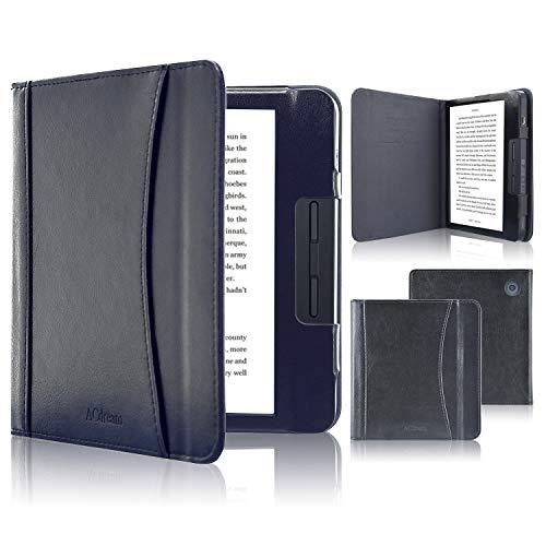 ACcolor Folio Hülle für Kobo Libra H2O 2019 Released - PU Leder Schutzhülle Tasche mit Auto Sleep/Wake Funktion für Kobo Libra H20 eReader, Schwarz