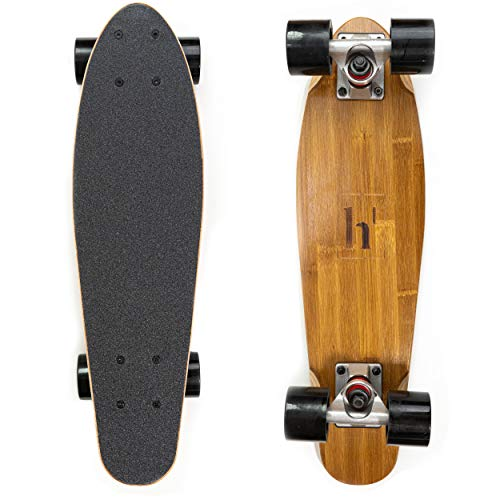 Complete 22-Inch 7 Ply Mini Cruiser Skateboard | Hard Canadian Maple & Bamboo Deck | Made for Kids, Teens, and Adults by Haven T Essentials