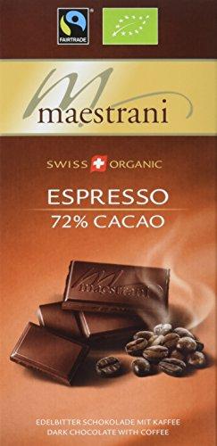 Maestrani Bio Edelbitter-Tafelschokolade Espresso, 72 % Cacao, 15er Pack (15 x 80 g)
