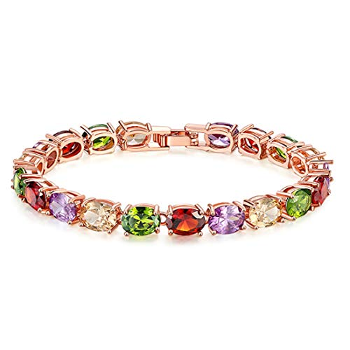 LIANGJING Europese en Amerikaanse stijl sieraden Kleurrijke zirkoon armband Vrouwelijke model diamanten armband armband