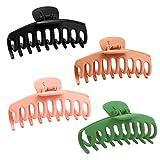 4 Pezzi Grandi Mollettoni per Capelli Clip Accessori per in Plastica Artiglio per Capelli Claw Spessi Donne e Ragazze,Nero e marrone e rosa e verde